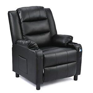 VONLUCE Fauteuil de Massage Inclinable Electrique, Fauteuil de Relaxation PU pour Salon Bureau Salle de Séjour, Fauteuil Massant Relax (Noir)