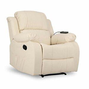 ZZ DON DESCANSO Don Descanso Fauteuil de Massage Relax Calor Trevi Crema, Cuir synthétique, Grand