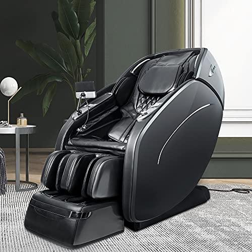 Fauteuil de massage, système de massage airbag, programme de massage automatique à 6 vitesses, fonction d'hyperthermie du dos, masseur 3D apesanteur, lecteur de musique Bluetooth(D-Gray)