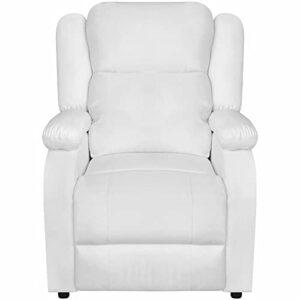 Ksodgun Fauteuil Massage Électrique Similicuir Réglable Blanc Massant Chauffé