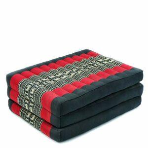 Leewadee Matelas de Massage Taille S – Matelas thaï en kapok Fait à la Main, lit Pliable thaï rembourré en kapok Naturel, 200 x 50 cm, Noir Rouge