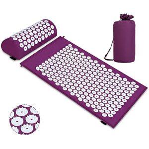 TNTY Tapis d'acupression pour Yoga Matelas de massage avec oreiller pour soulager les douleurs corporelles et le stress, Yoga Stress Violet ¡