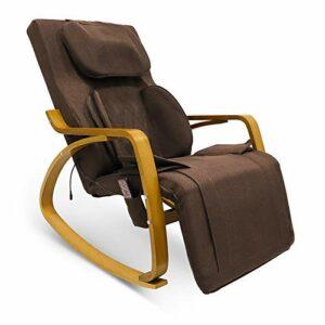 Furgle Siege Massant avec repose-pied, Siège de Massage du Dos, d'air Massage Shiatsu 3D Massage Chaise, Fauteuils et sièges de Massage complet du corps pour 90 * 108 * 71CM (Élargi,Marron foncé)