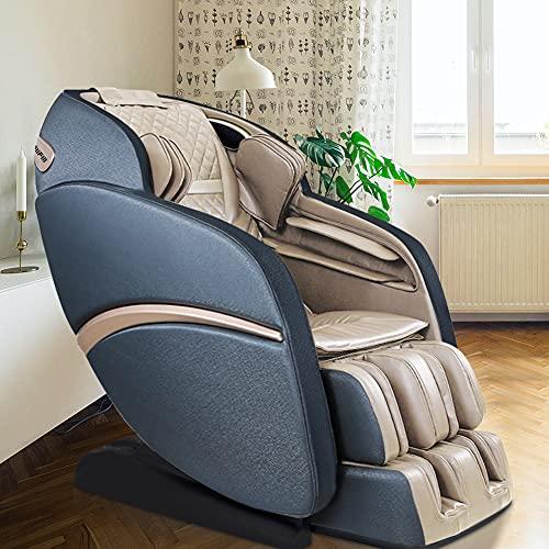 SUFUL Fauteuil de massage et relaxation, massage corporel Shiatsu, fauteuil inclinable zéro gravité, massage par pression avec coussin gonflable, pistes SL, thermothérapie, Bluetooth (Beige-Blue)